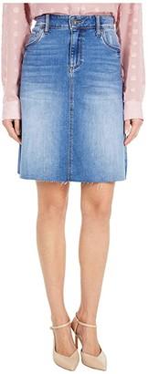 KUT from the Kloth Melinda Five-Pocket Raw Hem Skirt in Explorative (Explorative Wash) Women's Skirt
