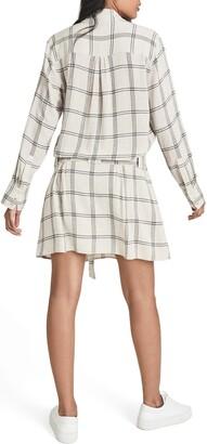 Reiss Dasha Windowpane Plaid Long Sleeve Shirtdress