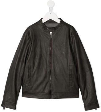 Paolo Pecora Kids Faux Leather Bomber Jacket