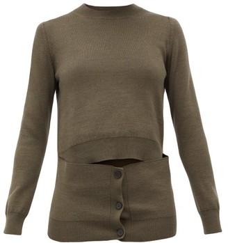 Alexander McQueen Deconstructed Button-panel Wool-blend Sweater - Khaki