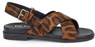 Prada Leopard-Print Calf Hair Slingback Sandals