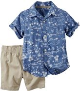Carter's Baby Boy Printed Short Sleeve Button-Down Shirt & Khaki Shorts Set