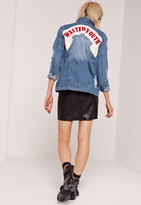 Missguided Graphic Ripped Denim Jacket Blue