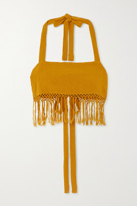 Savannah Morrow The Label - The May Cropped Fringed Ramie Halterneck Top - Mustard