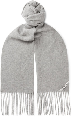 Acne Studios Fringed Wool Scarf - Men - Gray