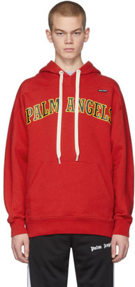 Palm Angels Red New College Logo Over Hoodie