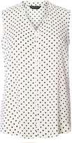 Monochrome Spot Print Sleeveless Shirt