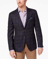 Tallia Men's Big & Tall Slim-Fit Charcoal/Purple Windowpane Plaid Sport Coat