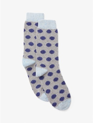 John Lewis & Partners Wool and Silk Mix Spot Ankle Socks, Grey/Blue