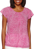 Liz Claiborne Short-Sleeve Pleated Blouse