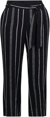 Evans Navy Blue Striped Linen Blend Trousers