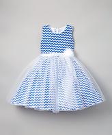 Navy Chevron Organza A-Line Dress - Infant Toddler & Girls