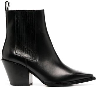 AEYDĒ Slip-On Heeled Leather Boots