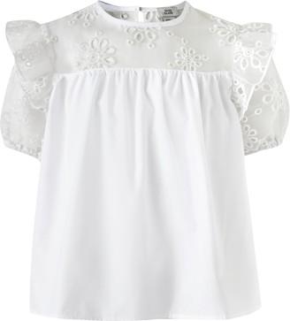 River Island Girls White poplin T-shirt