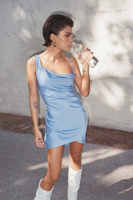 Nasty Gal Womens Cowl Time Asymmetric Satin Mini Dress - Blue - 12