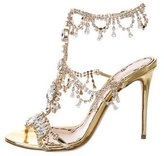 Marchesa 2016 Jewel-Embellished Metallic Sandals