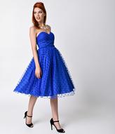 Unique Vintage 1950s Royal Blue Swiss Dot Dandridge Strapless Swing Dress