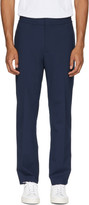 MSGM Navy Wool Elastic Waist Trousers