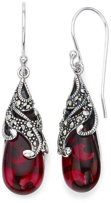 JCPenney FINE JEWELRY Marcasite and Red Stone Sterling Silver Teardrop Earrings
