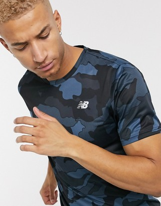 New Balance Running accelerate t-shirt in gray camo print