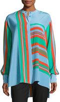 Diane von Furstenberg Oversized Striped Silk Shirt, Multicolor
