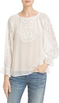 Joie Women's Metta Embroidered Peasant Blouse