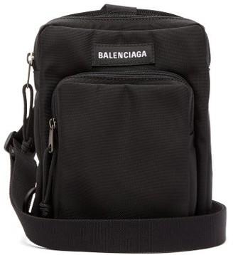 Balenciaga Logo Patch Canvas Cross Body Bag - Mens - Black