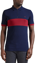 Fred Perry Chest Panel Pique Polo Shirt, Carbon Blue