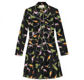 Gucci Toucan print silk shirtdress
