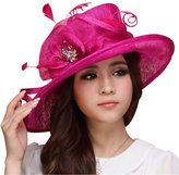 June's Young Women Hat Summer Sun Hat Sinamay Feather Ribbons Wide Brim