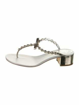 Rene Caovilla Leather T-Strap Sandals Silver