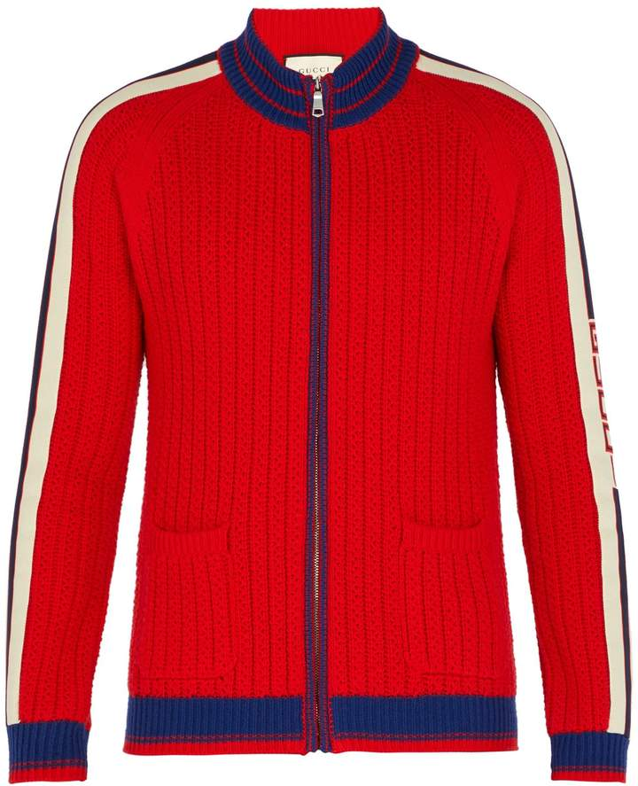 Gucci Tape-logo cable-knit wool bomber