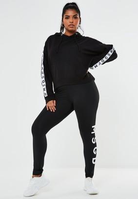 Missguided Plus Size Black Msgd Full Length Leggings