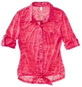 Mossimo Juniors Button Down Tie Waist Top - Assorted Colors