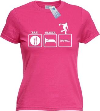 Fonfella Novelty Funny Top - Ladies EAT Sleep Bowl (M New Premium Fitted T Shirt Bowling Ball Ten pin Lawn Tenpin Bags Slogan Tshirts Womens Tshirt Hell Offensive Shirts