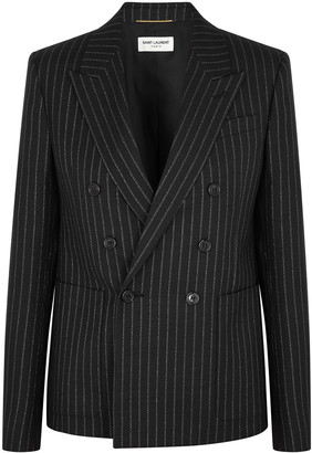 Saint Laurent Black pinstriped wool-blend blazer