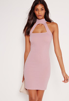 Missguided Choker Ponte Bodycon Dress Lilac