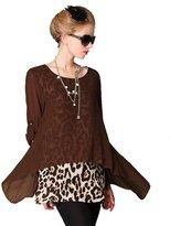 QZUnique Women's Plus Size False 2 Tops Sexy Leopard Shirt Tunic L