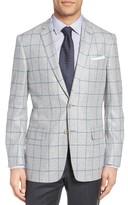 Hart Schaffner Marx Men's Jetsetter Classic Fit Windowpane Silk & Wool Sport Coat