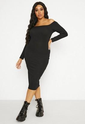Missguided Size Black Rib Bardot Dress