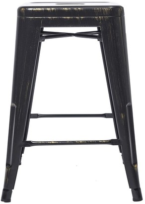 Btexpert 24 inches Stackable Industrial Golden Black Backless Kitchen Chair Island Indoor Outdoor Metal Barstools Set of 4 Bar Stools
