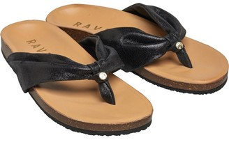 Ravel Womens Glade Leather Toe Post Sandals Black