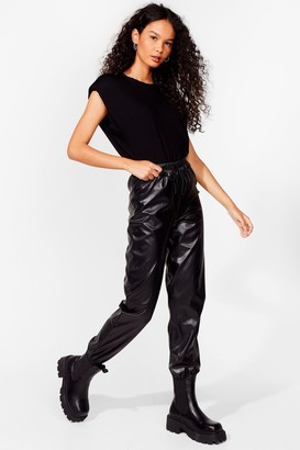 Nasty Gal Womens Best Time Faux Leather High-Waisted Jogger Trousers - Black - 6