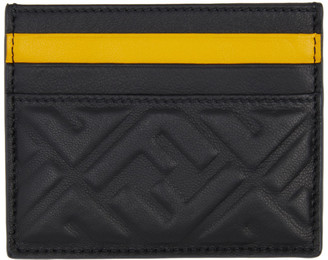 Fendi Black and Yellow Forever Business Card Holder
