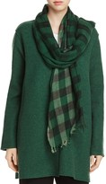 Eileen Fisher Ombre Check Wool Scarf