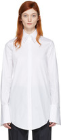 Jil Sander Navy White Stretch Poplin Shirt