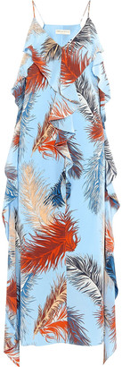 Emilio Pucci Ruffled Printed Crepe De Chine Midi Slip Dress