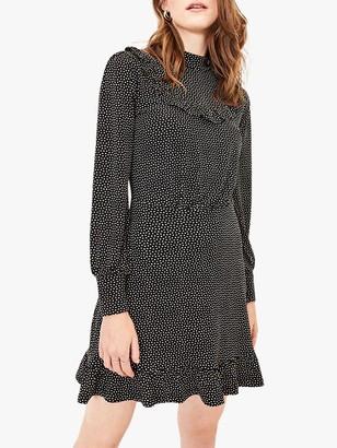 Oasis Ruffle Spot Mini Dress, Black/Multi