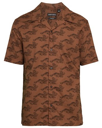 Antony Morato Tiger-Print Short-Sleeve Button-Front Shirt