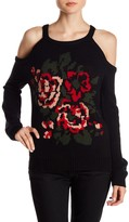 Flying Tomato Rose Knit Print Cold Shoulder Sweater
